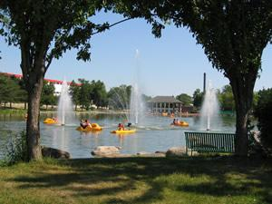 Paddle boats on the water in Beloit